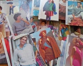 Vintage Knitting Patterns Lot of 80, Pullovers, Vests, Cardigans, Sweaters. Women, Men, Boys & Girls. 1980s Slouchy, Chunky Knit, Easy.