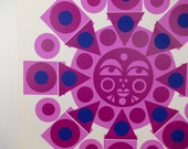 Mayan Sun Screenprint, Op Art. 70s Boho Decor. Mod Art. Mid Century Modern Serigraph Print, Modernist Screen Print. Bright Colors - Purple!