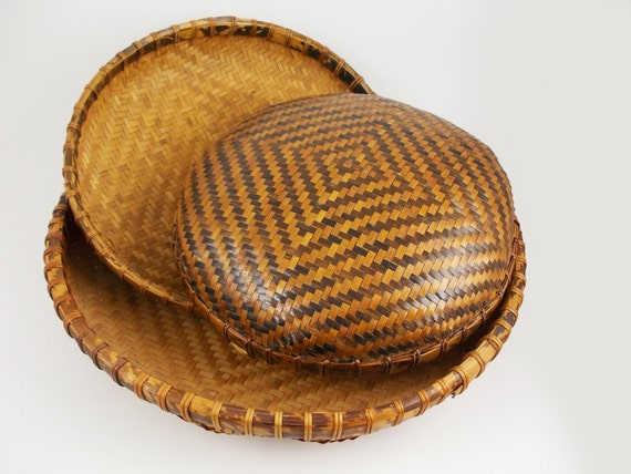 Shallow Woven Bamboo Baskets Set Of 3 Geometric Basket