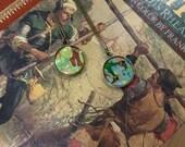 SALE ROBIN HOOD  faerie tale feet necklace archer bronze pendant boots illustration art