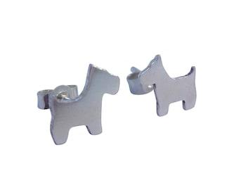 Silver Scottie Dog Stud Earrings