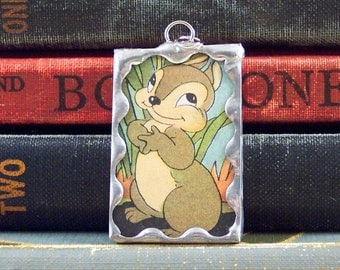 Chipmunk Pendant - Soldered Glass Charm with Vintage Book Illustration - Chipmunk Charm - Woodland Animal - Upcycled Book Page Charm