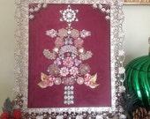 Pink Rhinestone Vintage Jewelry Christmas Tree