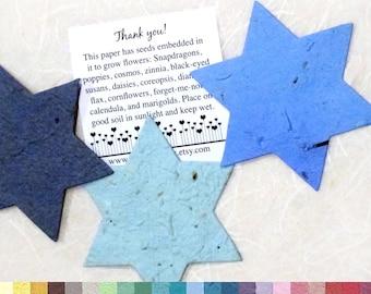 25 LARGE Star of David Plantable Paper Jewish Wedding - Flower Seed - Bar Mitzvah Favors Bat Mitzvah Favors - Tu B'Shevat