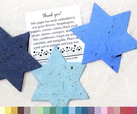30 LARGE Star of David Plantable Paper Jewish Wedding - Flower Seed - Bar Mitzvah Favors Bat Mitzvah Favors - Tu B'Shevat