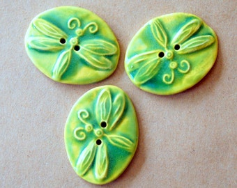 3 Big and Bold Handmade Ceramic Dragonfly Buttons - Light Green Stoneware Dragonflies