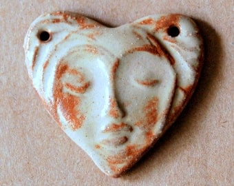 Sweet Ceramic Face in a  Heart 2 holed link Bead