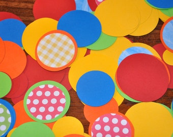 Bright Confetti. Confetti. Dots. Primary. Red. Blue. Orange. Yellow. Green.  Birthday Party. Minis. 125 pieces