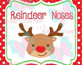 Reindeer Noses. Reindeer. Christmas. Reindeer Tag. Printable. Favor Tag. Tag. Square Tag. Printable Tag. Instant Download. PDF file.