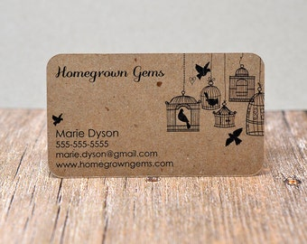 Recycled Kraft Brown Business Cards Bird Cage Design - Calling Cards - Mommy Cards - Display Cards