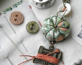 Sewing Necklace with a Tiny Pincushion and Thread Winder, Vintage Pumpkin