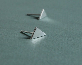Silver Triangles, post earrings, minimalist, petite, simple, everyday studs