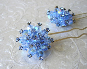 Something Blue Crystal and Rhinestone Hair Pin Wedding Headpiece Bridesmaid Hairpiece Hair Bling Pageant Jewelry Ballroom Accessory Prom