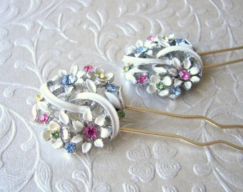 Fruit Salad Rhinestone Jewelry Hair Comb Jeweled Hairpins Enamel Hairpiece Spring Wedding Pastel Flower Bouquet Bohemian Chic Bride Prom