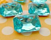 Two 18x13mm Aquamarine Octagon Glass Rhinestone Jewels (12-15B-2)