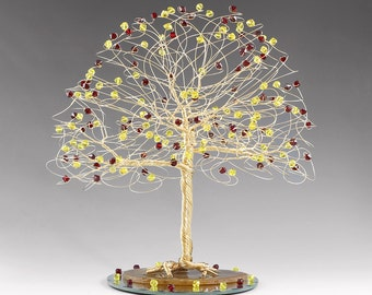 CUSTOM Tree Cake Topper with Swarovski Crystal Elements in Silver Gold or Copper and Your Colors