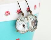 Dangle Earrings, Vintage Earrings, Vintage Glass Jewel Earrings, Clear, Gift For Mom, Gift For Woman, Valentines Gift