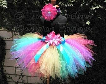 Bright Rainbow Tutu, Girls Birthday Tutu, Iris, a magical rainbow pixie, Custom Sewn Pixie Tutu, Baby Tutu, Tween Tutu