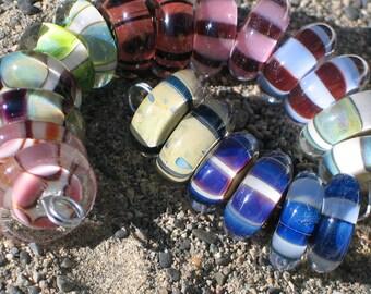 """Handmade Glass Lampwork disc disk Beads, """"Stripes"""" filler focal glass art"""