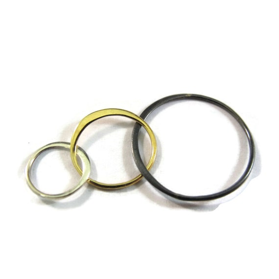 Three Circle Link, Mixed Metal Link,  Triple Link, Sterling Silver, Bronze and Oxidized Sterling, Great for All Jewelry Types (CH 2823X3)