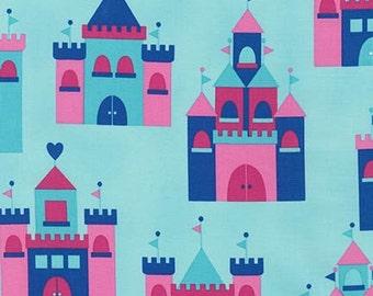 Princess Life, Castles in Crystal Blue by Ann Kelle Fabric by Robert Kaufman, half yard