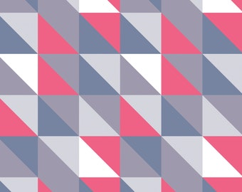NEW, Camelot fabrics, Pastel Me More, Geo Triangles in Pink and Grey, yard