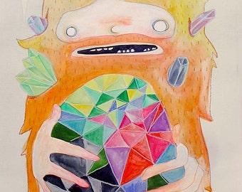 the Strange Crystal - Original Watercolor Painting