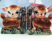 VERY RARE Vintage Antiques Deer and Bamboo Bookends Salt and Pepper Shakers Collectibles or Cake Toppers