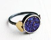 Indigo Blue Drusy Sweetheart Ring- Indigo Purple Drusy Ring with Hearts