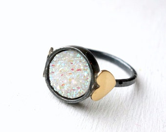 Snow White Drusy Sweetheart Ring- Iridescent White Drusy Ring with Hearts