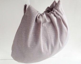 Sparkly Silver Hobo Purse - Retro Handbag with Clear Vinyl Tubing Handles