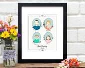 Custom Family Portrait, Family Illustration, Gift for Grandma, Personalized Family Art, Family Drawing, Gift for Mom - 8x10 Art Print