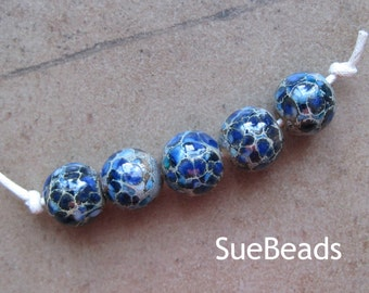 Lampwork Beads - SueBeads - Round Beads - Silver Lapis - Handmade Lampwork Beads - SRA M67