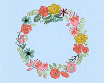Spring Wreath Shabby Chic Floral Flowers- Machine Embroidery Pattern