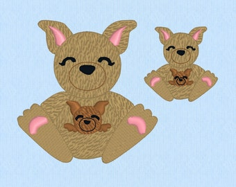 Kangaroo with baby Joey machine embroidery design file in two sizes