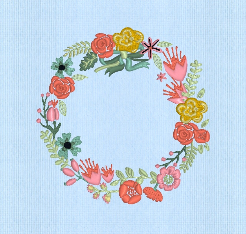 Spring wreath shabby chic floral flowers machine embroidery