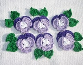 6 purple thread crochet applique pansies with leaves  --  457