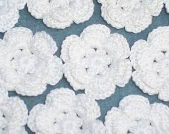 14 pearl cotton crochet applique roses/flowers -- 594