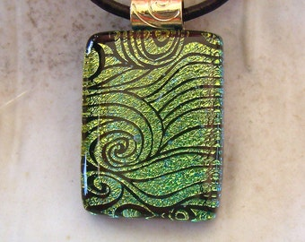 Fused Dichroic Glass Pendant, Necklace, Glass Jewelry, Gold, Green, Necklace Included