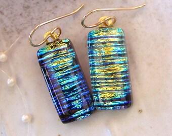 Gold Earrings, Blue and Gold Earrings, Dichroic Glass Earrings, Dangle, Gold Filled