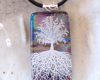 Tree of Life Dichroic Glass Pendant, Necklace, Fused Glass Jewelry, Necklace Included, A3