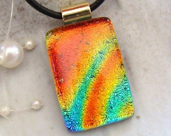 Dichroic Pendant, Glass Jewelry, Fused Jewelry, Necklace Included, Orange, Aqua, Gold