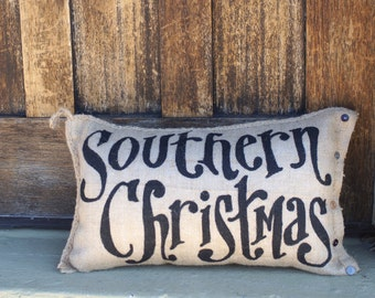 Southern Christmas Burlap Quincy Pillow -Merry Christmas - Holiday decor - Deep in the Heart