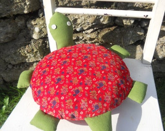 Turtle plush for imaginative play, turtle plushy, turtle pillow, handmade from vintage reclaimed materials, nursery decor, child gift