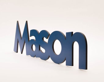 "SALE Wooden ""Mason"" Sign - Ready to Ship - Egyptian Blue"
