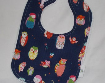 Cool Navy Blue Owls and Chenille Bib