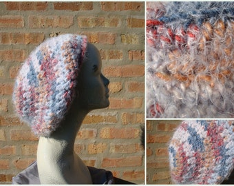 Slouch Cap MultiColored Fuzzy Crochet  - Hat - Ready to ship