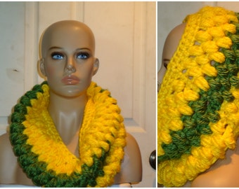 Green and Yellow - Green Bay Colors - 2 different styles - Crocheted Cowl - Crocheted - Handmade - Ready to ship