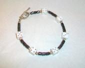 White Dice Hematite Bracelet