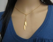 Gold lariat necklace, gold drop necklace, gold y necklace, delicate necklace feather jewelry